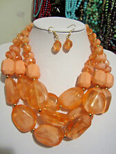 Three Layers Multi Peach Lucite Bead Gradual Chunky Necklace Earring Set