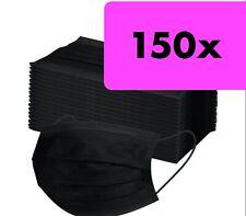 150x OP Maske medizinisch Schwarz Typ IIR Mundschutz 3-lagig Masken Einwegmaske