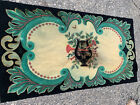 """Antique handmade Looped / Hooked rug signed with Musical Lyre logo 70""""x37.5"""""""