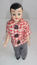 Vintage Boy Doll Hard Plastic Sleeping Eyes Painted Face Hair Jointed Arms