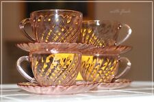French Pink Glassware Rosaline CUP & SAUCER Lot of 4 Sets 1970's Arcoroc France