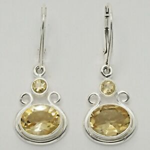Genuine Natural Yellow CITRINE Oval Earrings 925 STERLING SILVER Leverback #16