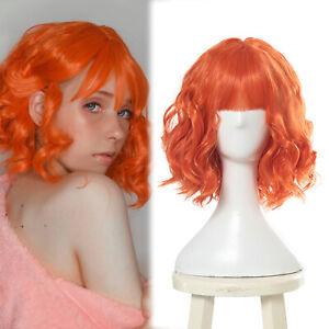 Women Lolita Short Orange Curly Wavy Wig Women Bangs Party Cosplay Wigs Fashion
