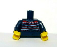 Lego 1 Body Torso For Minifigure Dark Blue Sweater Pattern Xmas Christmas Jumper