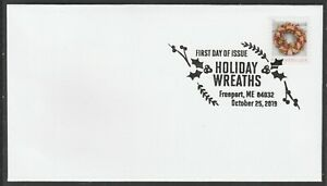 US 5426 Holiday Wreaths Gold & Red Ribbon BWP FDC 2019