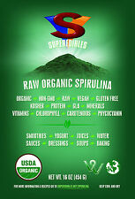 Raw Organic Spirulina 1lb 27.99 Free Shipping Fast Delivery