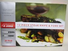 New Judge Sabatier Steak Knives & Forks 12 Piece Set Knife Fork Stainless Steel