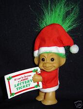 "LUCKY LOTTERY SANTA TROLL CLIP ON w/TICKET - 3"""" Russ Troll Doll - NEW"