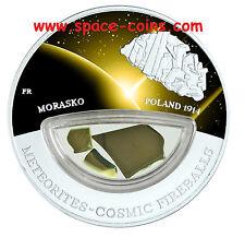 Morasko METEORITE silver coin! $10 Fiji, only 999 made! Cosmic Fireballs 2013