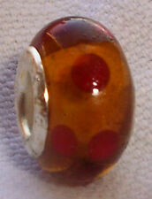 Amber Brown Red Polka Dot Murano Glass European Bead for Silver Charm Bracelets