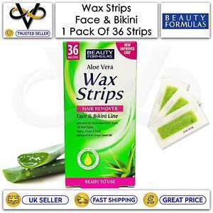 Beauty Formulas Wax Strips Hair Remover 36 Face & Bikini Strips All Skin Types