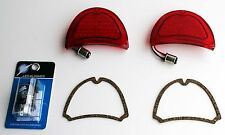 1957 Chevy 57 LED red tail lights NEW pair w Gaskets & 12 volt 2 pin Flasher