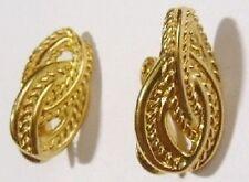 boucles d'oreilles clips bijou vintage signé MONET couleur or earring *8995