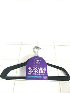 10 Black Huggable Velvet Hangers by Joy Mangano New no slip