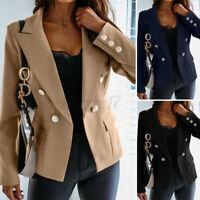 ZANZEA UK Women Slim Suit Jacket Blazer Coat Outerwear Button Up Cardi Plus Size