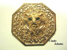 VINTAGE SIGNED CINDY ADAMS - LG LION BROOCH PIN PENDANT  GREEN RHINESTONE EYES
