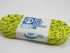"A&R Waxed Hockey Laces Flat 120"" Yellow w/ Black Chips Molded Tips New"