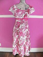 PER UNA @ M & S PINK WHITE FLORAL COTTON summer party tea dress 16 L cap sleeves