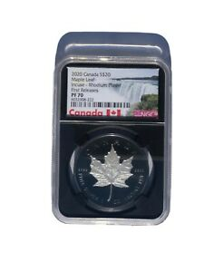 2020 Canadian Silver Maple Leaf Incuse Black Rhodium 1 oz $20 Proof NGC PF70 FR!