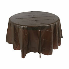 Chocolate Brown Round Plastic Tablecloth - Party Supplies - 1 Piece
