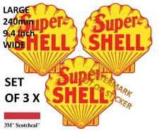 3 X VINTAGE SUPER SHELL FUEL GASOLINE PETROL BOWSER DECAL STICKER  LARGE 240 MM