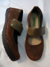 CAMPER 36 Ballerina Mary Jane Brown Oiled Suede Flat Women Shoes