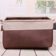 Cotton Linen Sundries Basket Clothes Storage Bucket Coffee Color Home StorageBag