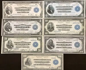 Reproduction Federal Reserve Bank Note Set $1 $2 $5 $10 $20 $50 $100 1915-18