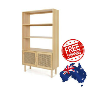 Wooden Shelves 3-Tier Rattan Boho Storage Bookshelves Case Living Room Office
