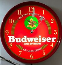 Vintage Budweiser Beer King Of Beers Light Up Wall Clock Nice Everything Works!