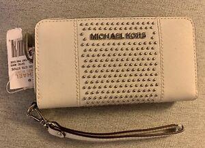 New Michael Kors Phone Wallet Jet Set Jewel Optic White Leather Studded