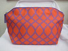 (1) NEW Shiseido Orange/Purple Zip Top Makeup Bag *FREE SHIP*