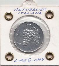 ITALIA LIRE 5 VECCHIO TIPO UVA 1949 SPLENDIDA ++ SUPER  OCCASIONE PREZZO