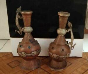Old Antique Vintage Copper Handmade Flower Vase Urn Dragon Pot Collectible Set 2