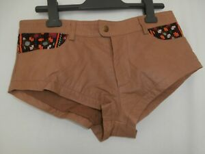 SPELL TAN LEATHER SHORTS SIZE 8