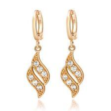 Elegant Womens Jewelry Yellow Gold Filled Crystal Waves Dangle Hoop Earrings