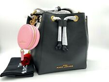 The Marc Jacobs Bucket Drawstring Leather Bag With Pink Coin Pouch Blac