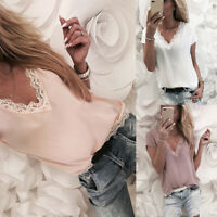 Women Lace Vest Sleeveless Loose Camisole V-Neck Tank Tops Blouse T-Shirt US