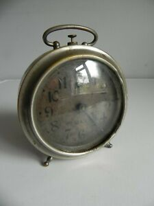 Vintage French Original JAZ Retro Metal Bedside Alarm Clock