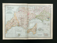 Map Of England Antique 1903 Cornwall Devon Dorset Plymouth Somerset