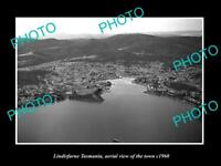 OLD LARGE HISTORIC PHOTO OF LINDISFARNE TASMANIA, AERIAL VIEW OF THE TOWN c1960