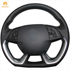 Black Leather Steering Wheel Cover Wrap for Citroen DS 5 DS 4S #XL03