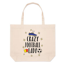 Crazy Football Lady Large Beach Tote Bag - Funny Soccer Shopper Shoulder