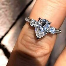 Ring in Solid 14k White Gold 2.60Ct White Pear Excellent Cut Diamond Engagement