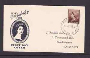 Tokelau Islands 1953 FDC 1st day cover to England QE II Coronation Sanders cache
