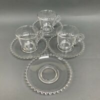 Ohio Imperial Glass Cups and Saucers Clear Beaded Candlewick Lot of 7