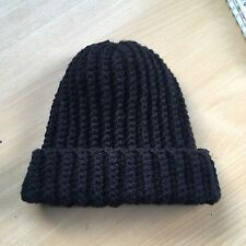 Handmade Black Crochet Beanie Hat (adult)
