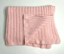 Pottery Barn Pink Cable Woven Knit Reversible Baby Blanket Stroller Throw FLAW