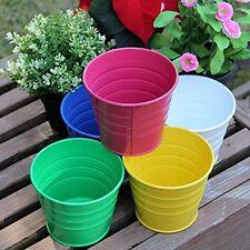 5 Pcs Flower Garden Pot Metal Decorative Assorted Colors Set Flowers Plants Pots