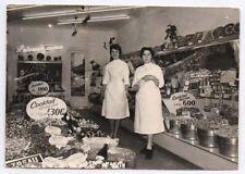 PHOTO ANCIENNE Boutique Magasin Épicerie Confiserie Bonbon Vendeuse vers 1950